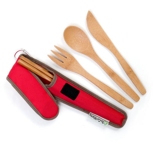 Bamboo Utensil Set with Pouch in Red