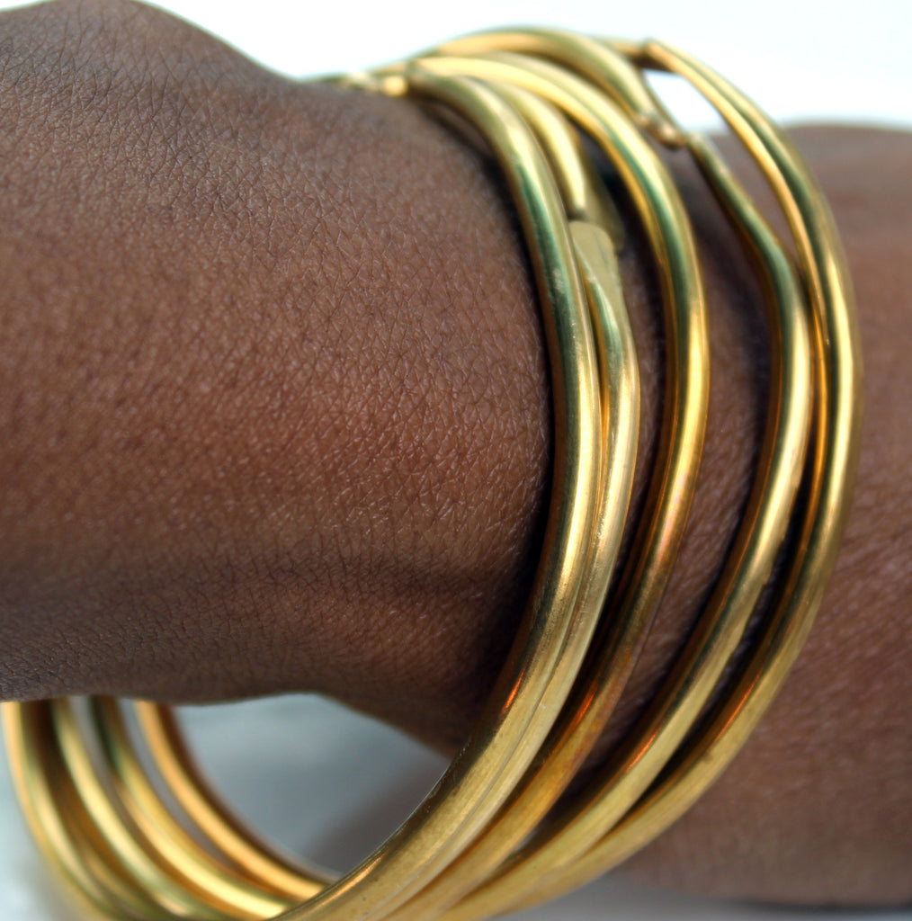 Hammered Jewelers Brass Bangle Bracelets-Stacking Bangles - Norahz Boutique