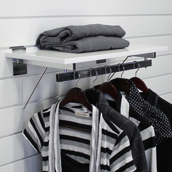 24 in. White Shelf with hang rail