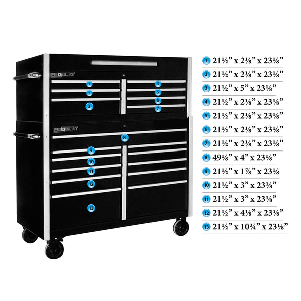 MCS 54 in. Rolling tool chest combo – Black