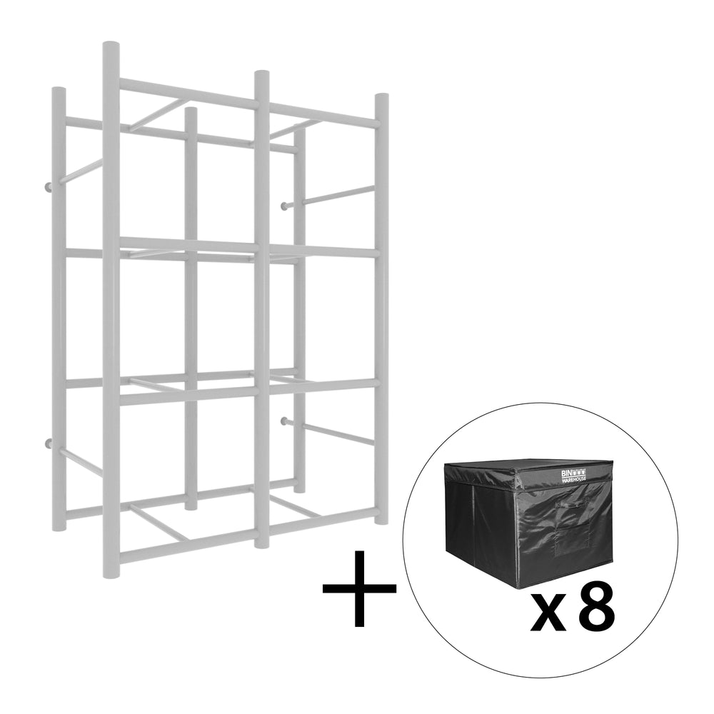 Bin Warehouse Rack – 8 Tote with 2 x 4 PK 32 gallon Fold-A-Tote