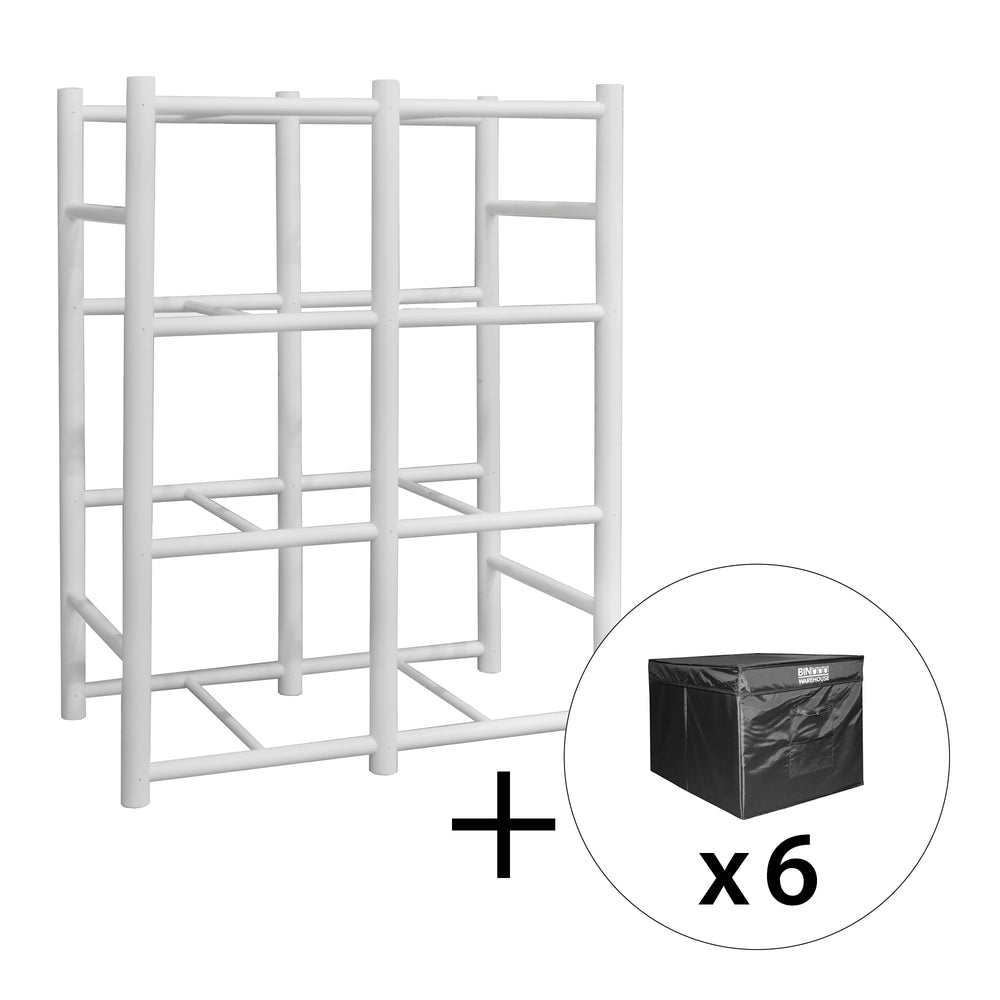 Bin Warehouse Rack – 8 Filebox with 6 PK 9 gallon Fold-A-Tote