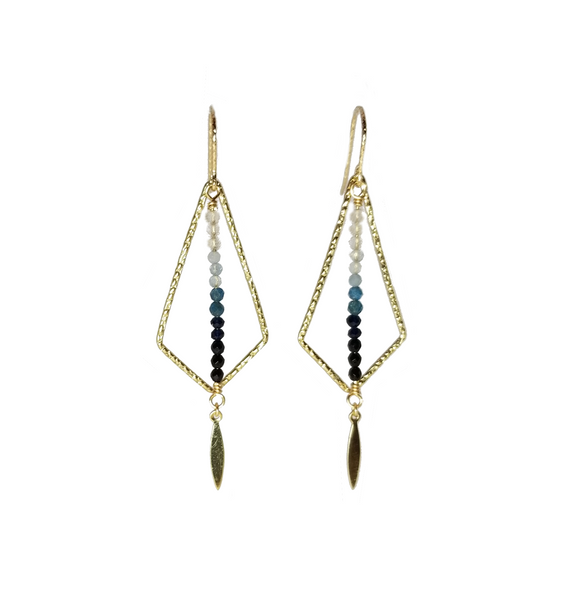 Geometric Ombre Earrings in Blue
