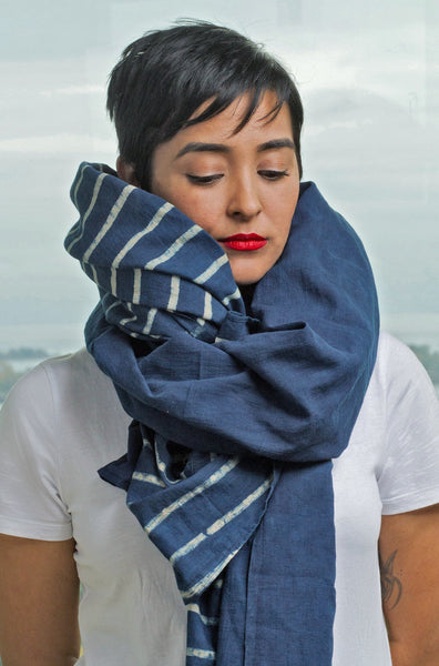 Long Scarf 1/2 Stripe Indigo