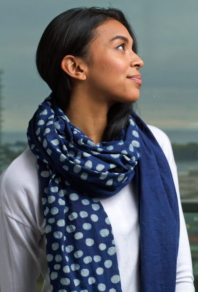 Long Scarf 1/2 Dot Indigo