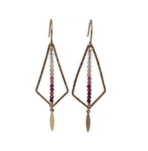 Geometric Ombre Earrings in Pink