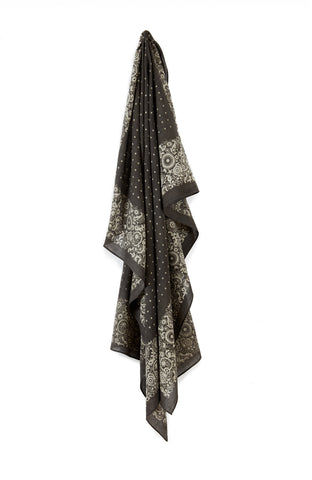 Square Scarf Floral Dot Grey
