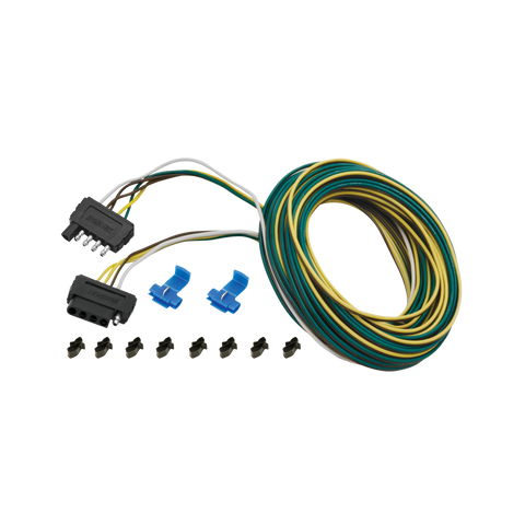 5-Flat Trailer End Connector, 25' Wishbone Harness Kit w/Hardware, 4' Ground, 5' Auxiliary, 6' Car End, 6' Ground, 6' Auxiliary