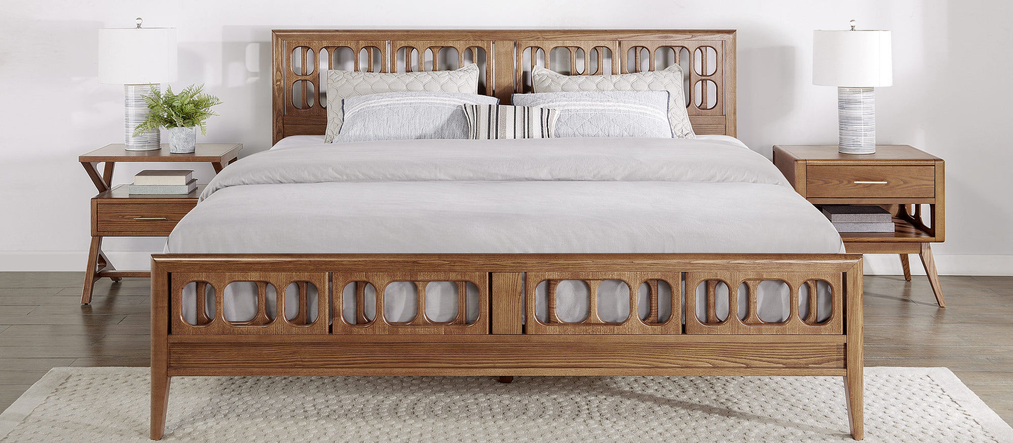 NOR modern solid ash wood  bed