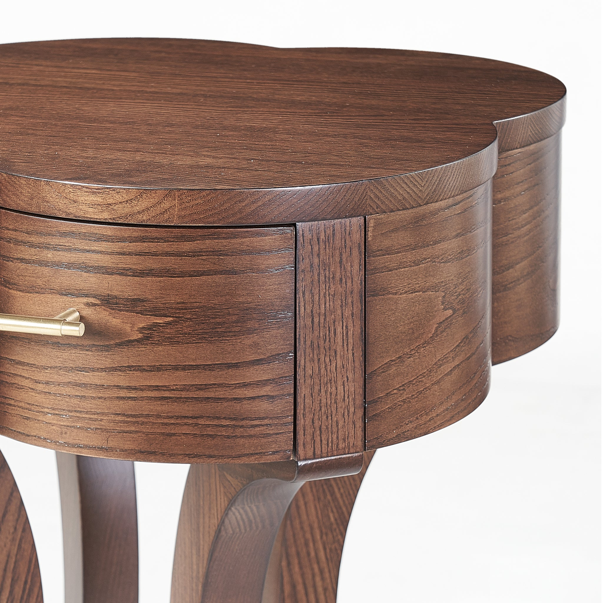 Lucky Lucas Ash wood and Brass Side Table - Chestnut Ash