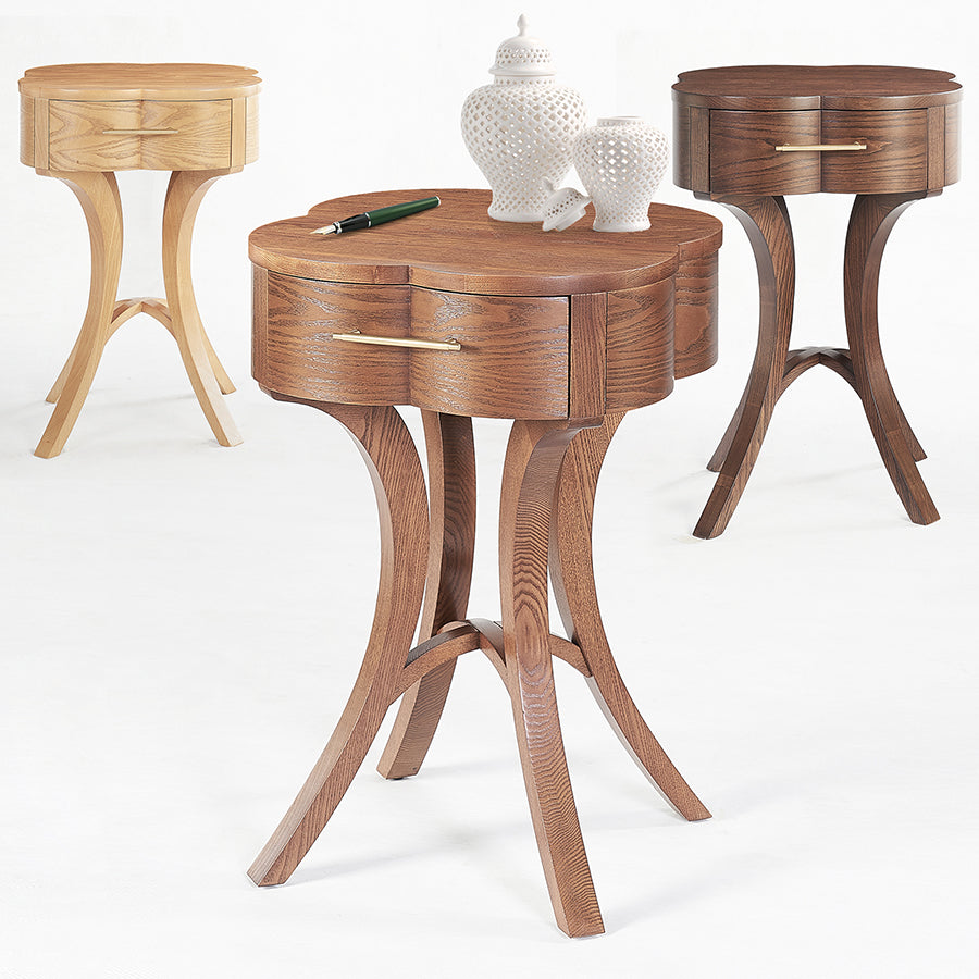 Lucky Lucas Ash wood and Brass End Table - Honey Ash