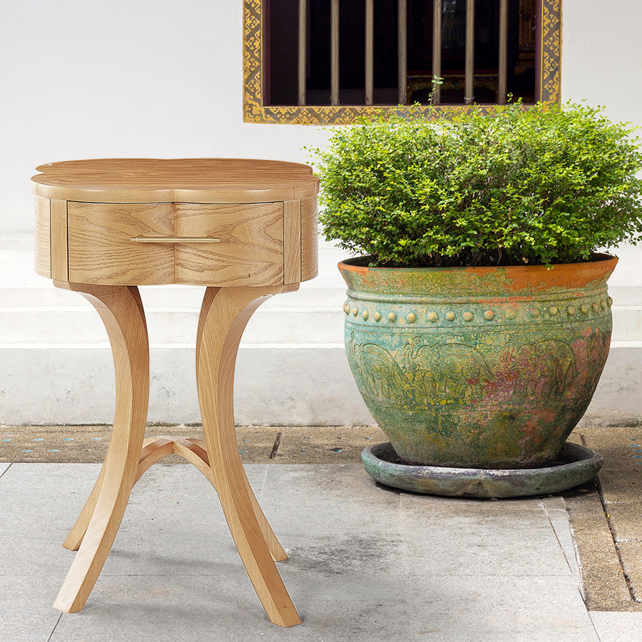 Lucky Lucas Ash wood and Brass Side Table - Honey Ash