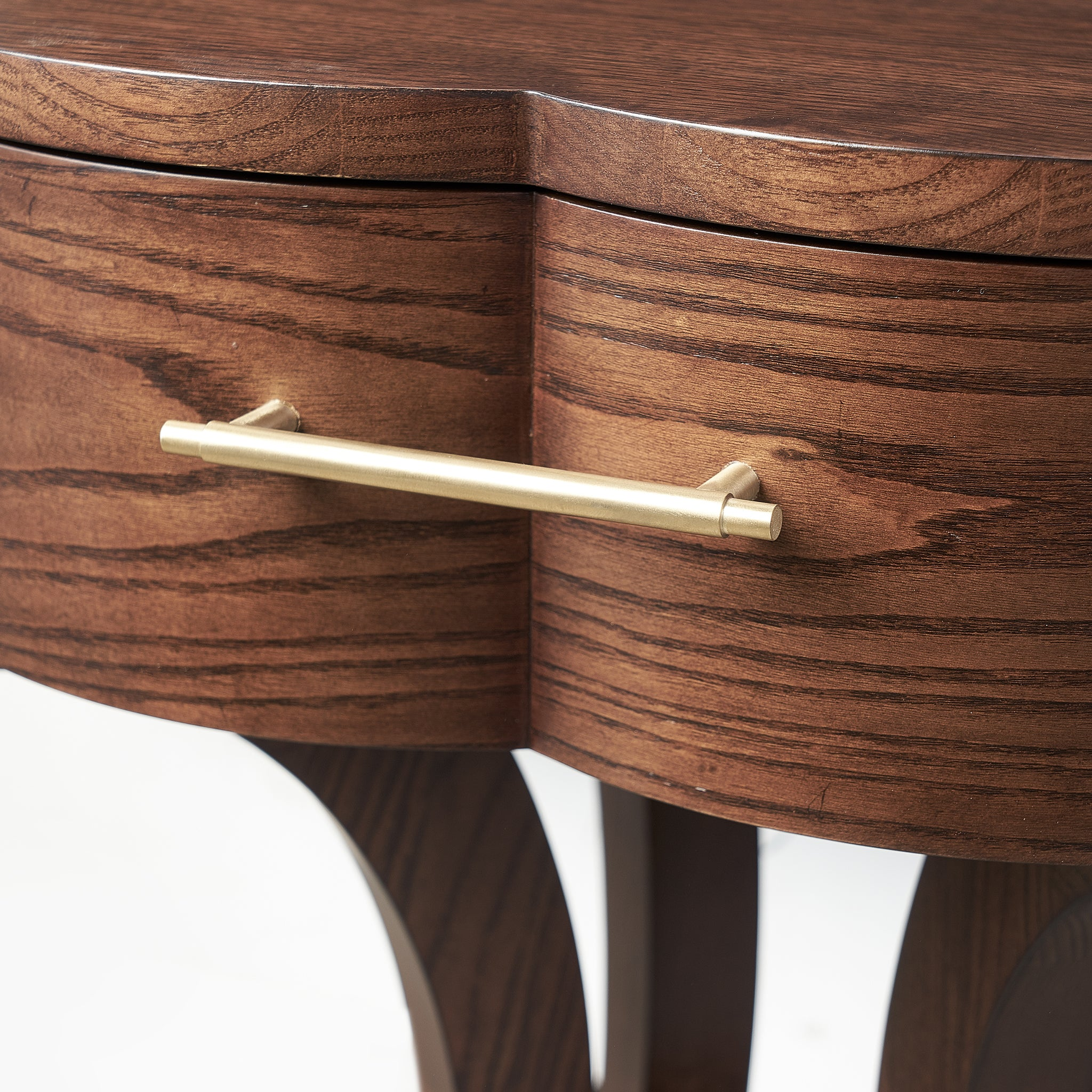Lucky Lucas Ash Wood And Brass Side Table   Chestnut Ash