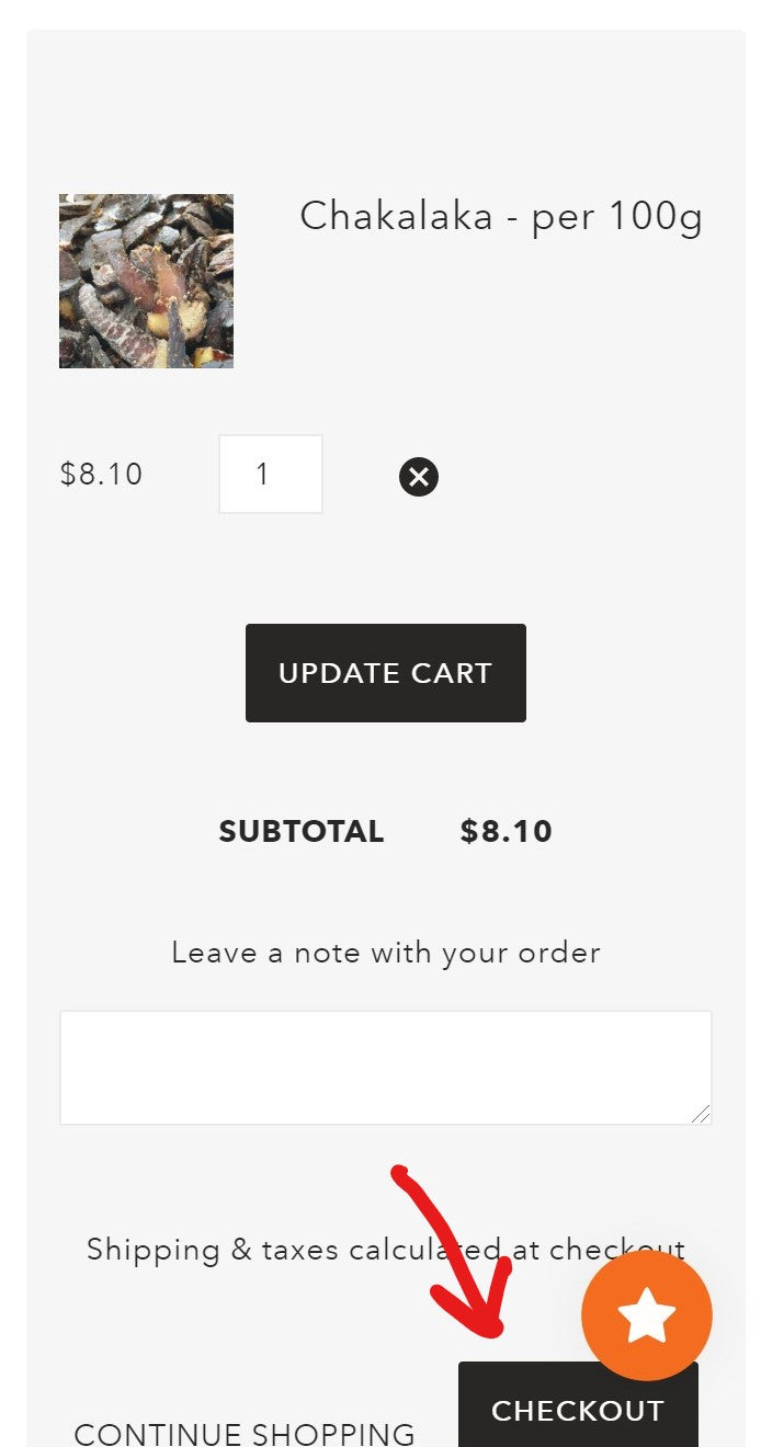 location of checkout button