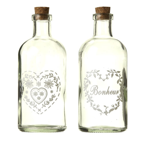 Vintage Bottles with Heart Decorations
