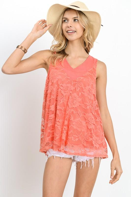 Lace Pleated Tank