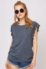 Load image into Gallery viewer, Ruffle Sleeve Marled Tee