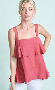 Square Neck Ruffle Trim Sleeveless Top