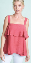 Load image into Gallery viewer, Square Neck Ruffle Trim Sleeveless Top