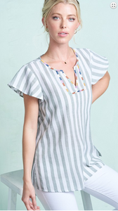 Ruffled Sleeve Stripe Blouse Top
