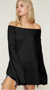 Bell Sleeve Loose Neck Top