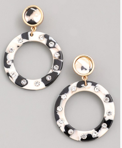 Studded Hoop Drop Earrings