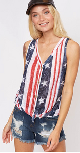 Flag Print Knot Top