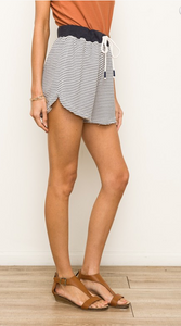 Stripe Terry Raw Edge Shorts