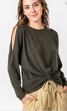 Load image into Gallery viewer, Ribbed Cold Shoulder Top