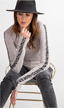 Load image into Gallery viewer, Rib Knit Animal Print Top