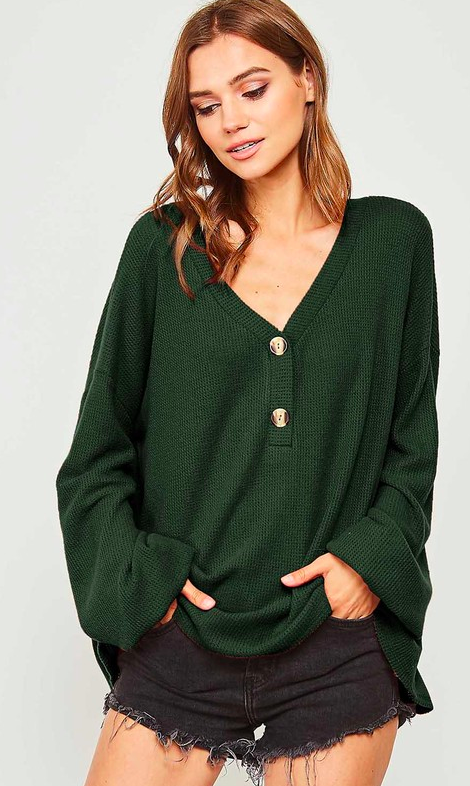 Solid V Neckline Knit Top