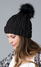 Load image into Gallery viewer, Cable Knit Pom Pom Beanie