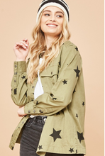 Load image into Gallery viewer, Stars-Print Snap-Front Shirt Jacket with Pockets