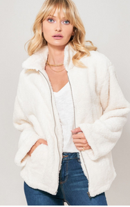 Faux Fur Zip-Up Jacket with Pockets