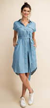 Load image into Gallery viewer, Chambray Shirt Dress