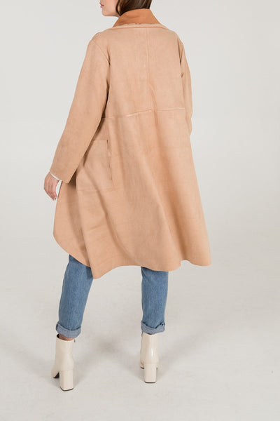 long suede waterfalk jacket one size