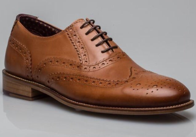 London Brogues Gatsby Tan Leather Shoe