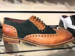 London brouges leather and green suede gents shoes