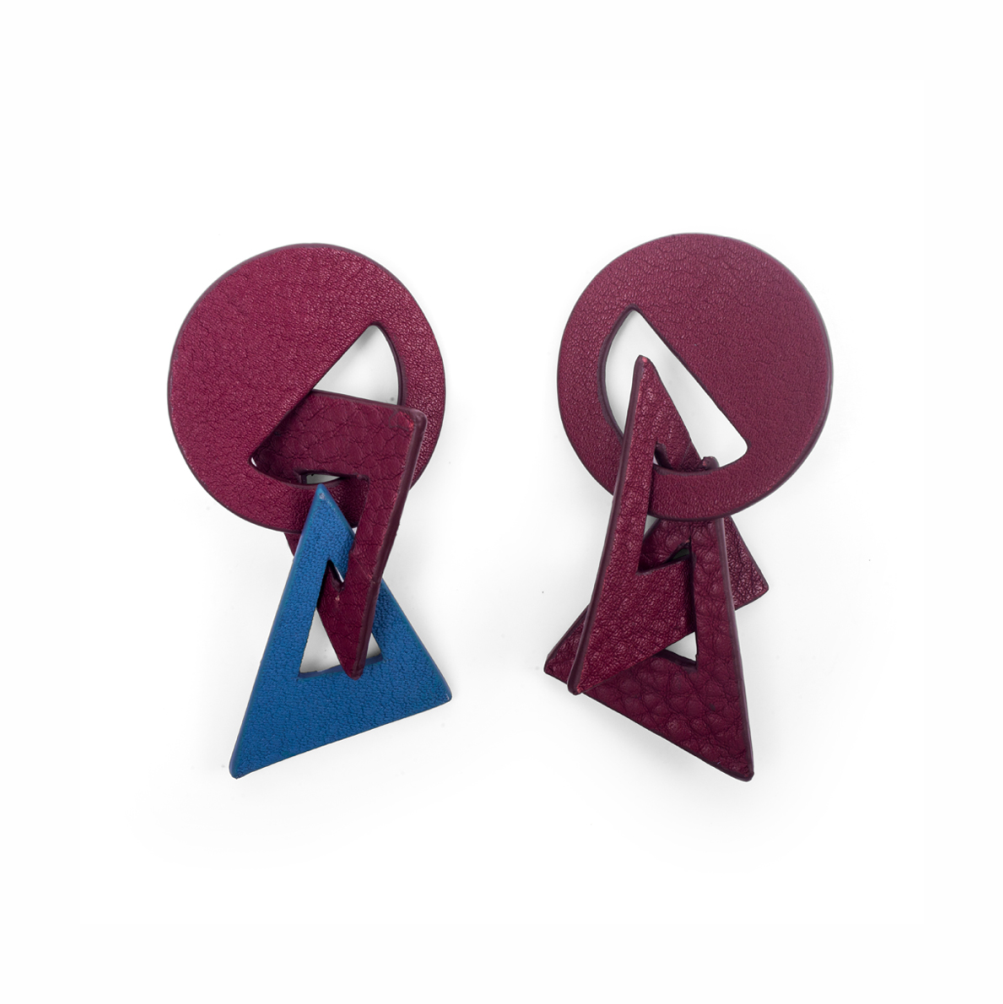 Picasso Earrings Burgundy / Blue