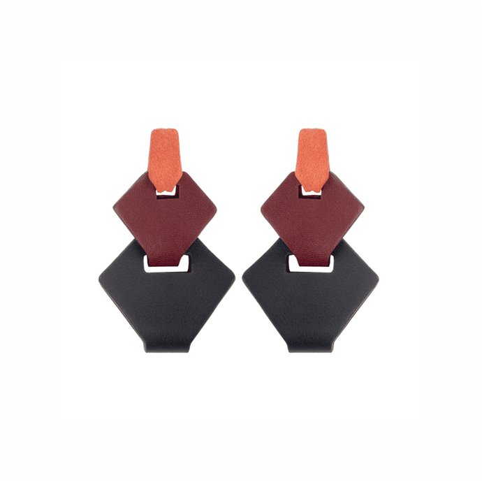 Link Earrings Burgundy