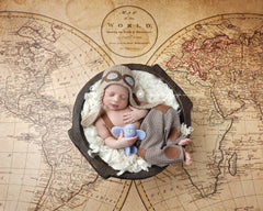 Nautical World Map Photography Backdrop