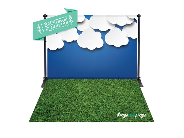 Baby Clouds & Grass Photography Backdrop Combo