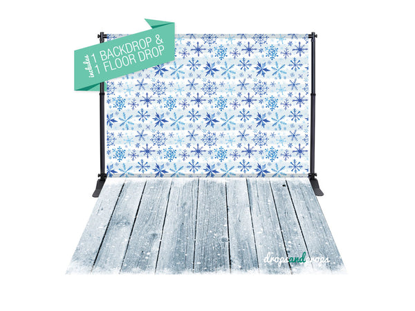 Baby Its Cold Outside & Winter Wood Floor Photography Backdrop Combo