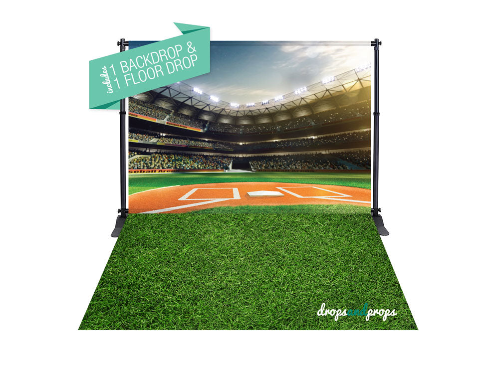 Baseball Field & Grass Photography Backdrop Combo