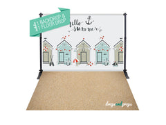 Beach Huts & Sand Photography Backdrop Combo