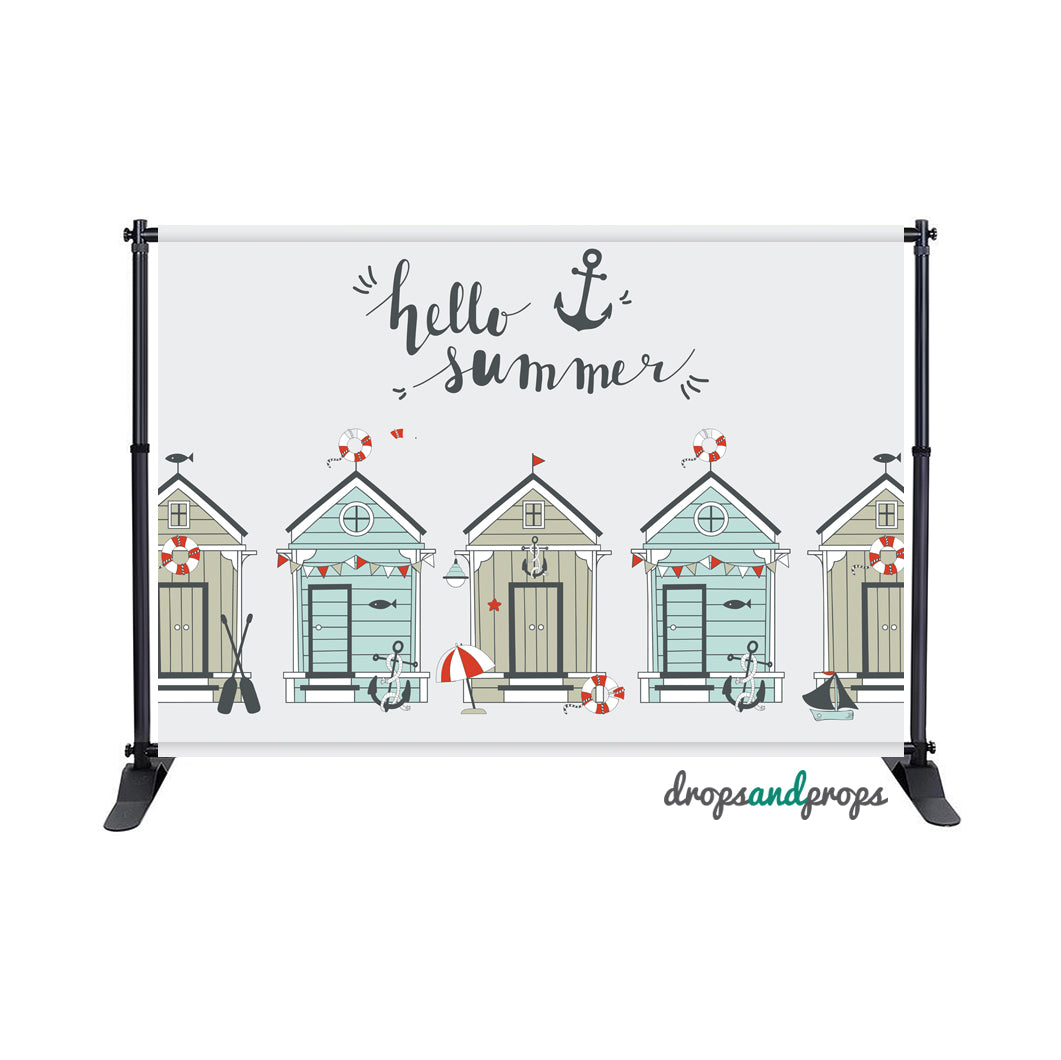 Beach Huts Photography Backdrop