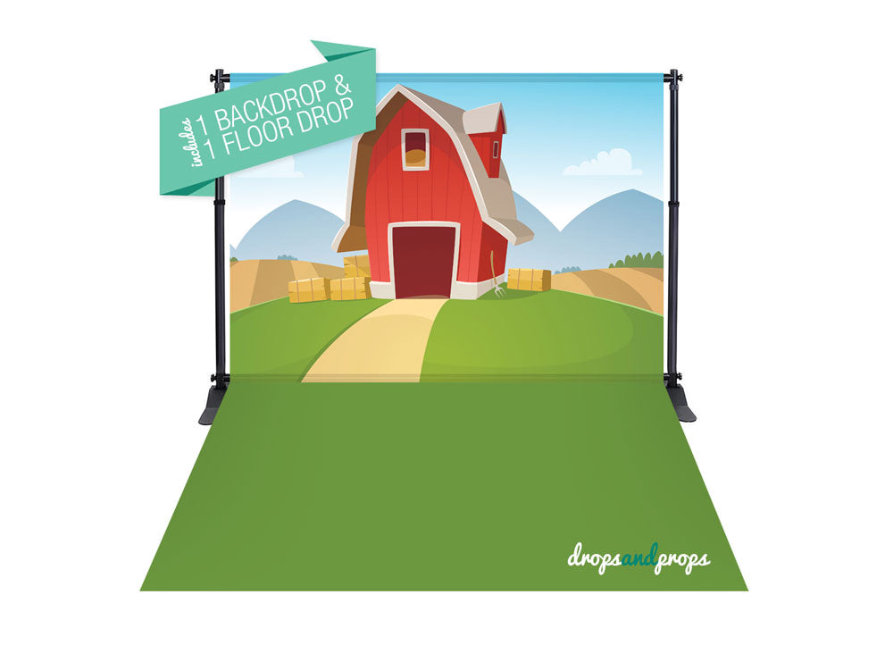 Big Red Barn & Grass Green Photography Backdrop Combo