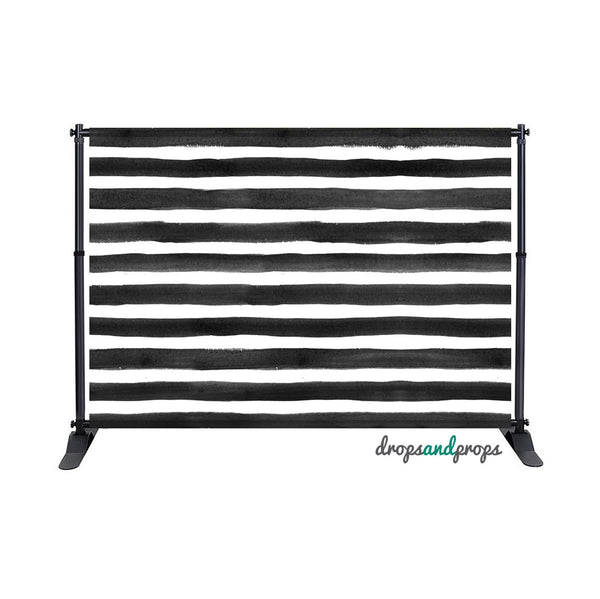 Black Watercolor Striped Photography Backdrop