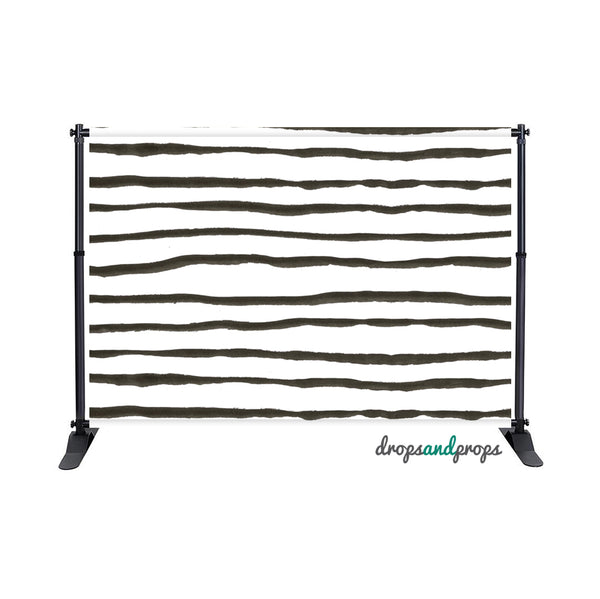 Black Watercolor Stripes Photography Backdrop