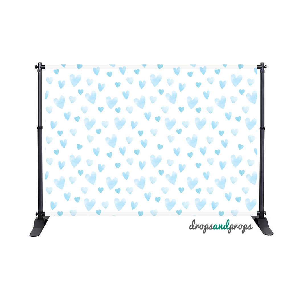 Blue Watercolor Hearts Photography Backdrop